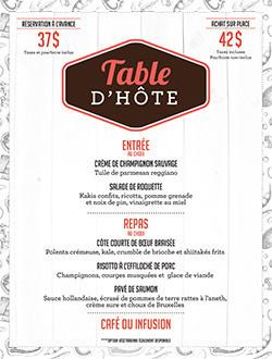 Table d'hôte menu image