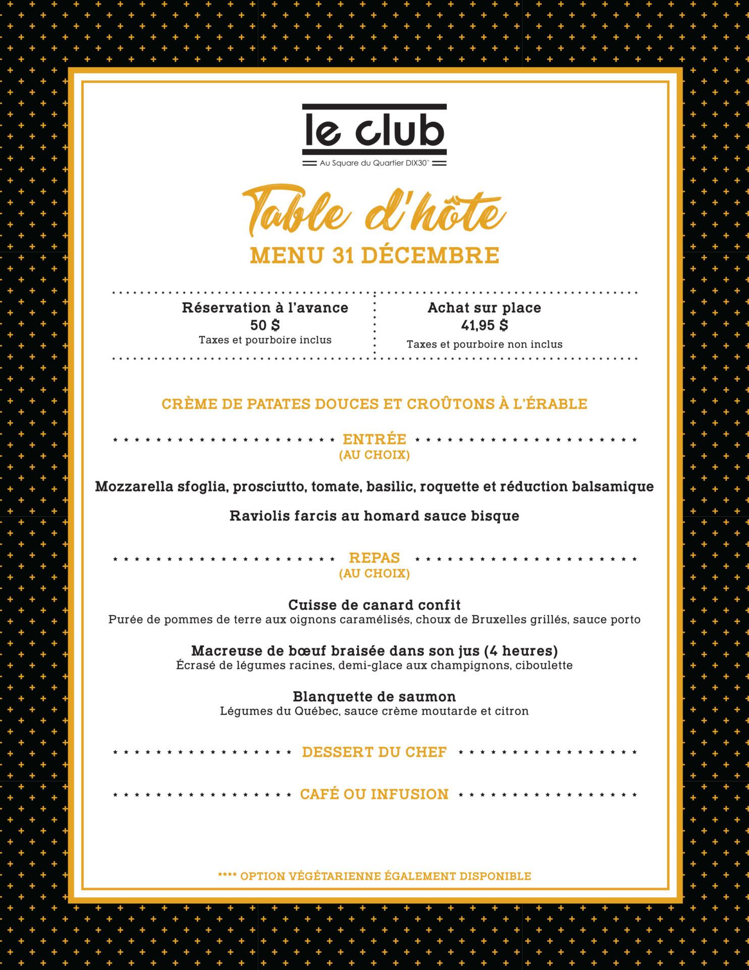Le club dix30 souper spectacle for Table 31 decembre